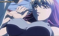 Blonde anime nympho takes huge dick
