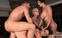 Hot stud smashing mature starved pussies in 4some