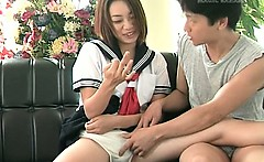 Jap doll in school uniform pussy played before getting