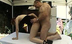 A man and his big wife fucking with one other woman
