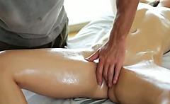 Brunette Amateur Girl Oiled Up On A Massage Table