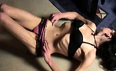 Extreme skinny babe with anorexia posing in panties