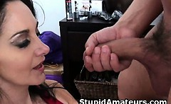 Pretty Brunette Amateur Sucks Dick And Titty Fucked