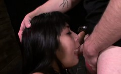 dark haired asian babe chained and fucked