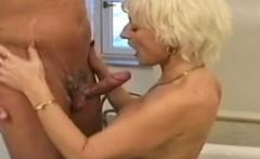 perky blonde granny in the bath