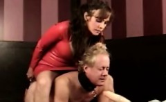brunette babe with her new male slave