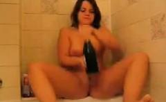 Fat Girl Sticks Bottle Inside Of Her