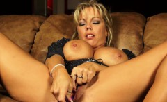 Sexy housewife masturbates her big pussy lips with a sex toy