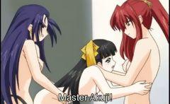 Hentai threesome hot strapon fucking and cumming