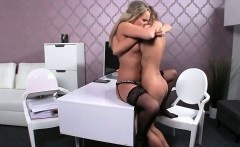 Hairy pussy female agent gets licked on casting