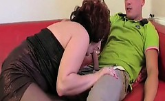 She was shy at first but she accepted that young cock later