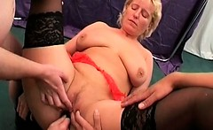 Hot blonde milf loves only big toys