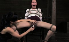Open mouth lezdom sub tits and pussy tormented
