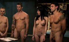 Two sexy girls fucking with horny guys in a jailcell