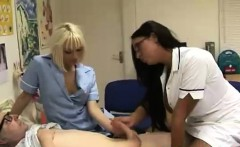 Lucky CFNM old guy gets a handjob from two nurses
