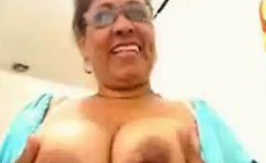 Chubby grandma plaing with her big pussy