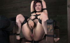 Anally hooked bitch being restrained