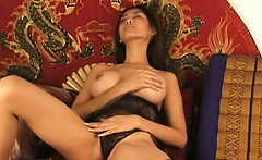 Asian with Round Tits Toying Hairy Cunt