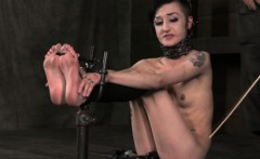 BDSM tattood bondage sub feet spanked