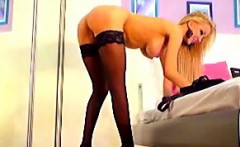 Skinny blonde in stockings teases on live webcam