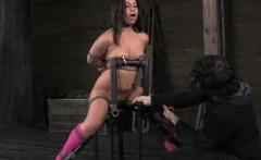 BDSM ballgagged babe over the knee spank