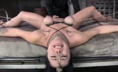 Breast bondage sub gets pussy spanked