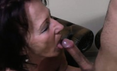 Mature housewife giving blow job a young man