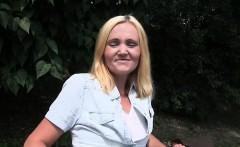 Blonde Czech amateur babe fucks outdoor POV