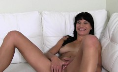 Tanned amateur masturbates and fucks on casting