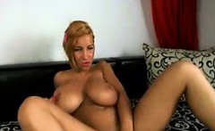Busty huge tit euro babe dildos her pussy on cam