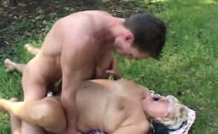 Chubby mature outdoor