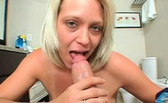 POV trashy blonde MILF fellating and deep throating cock