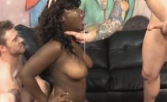Black Slut With Massive Tits Rough Face Fucking In Threesome