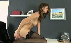 stocking clad babe teases her pissy pussy