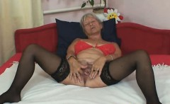 Plain grandmother Cecilie toys her haired twat