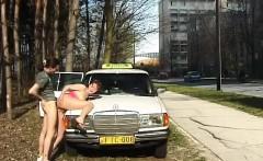 Teen gets cum next to Taxi car