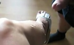 Husband Jerking Off Onto His Wifes Leg
