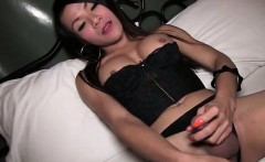Gorgeous shemale plays with her long dick