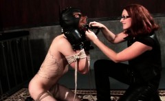 Roped male sex slave ass dildoed doggy style