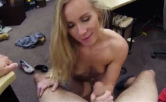 Small tits blonde bimbo sucks and fucked at the pawnshop