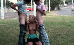 SHOCKING public teen orgy on the street with a pretty blonde