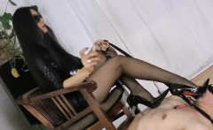 Sexy Asian Mistress Stepping On Her Slave