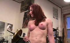 Mature Redhead Cat DeSade Works Out Topless