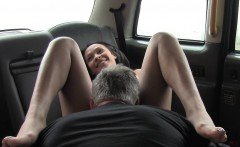 Ebony babe deep throats in cab black british