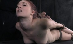 Hogtied submissive skank being anally hooked