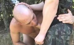 Muscular latin barebacked by tattooed military man