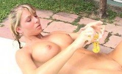 Wet blonde beauty playing with her wet pussy
