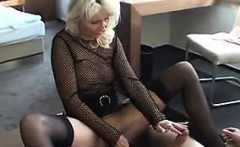 Blonde MILF Wearing Lingerie Sucks Cock