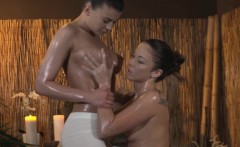 Busty masseuse licked out by massage client