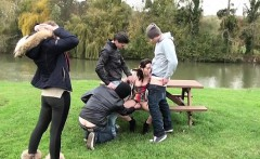 French teen Sylvia gangbanged in all holes